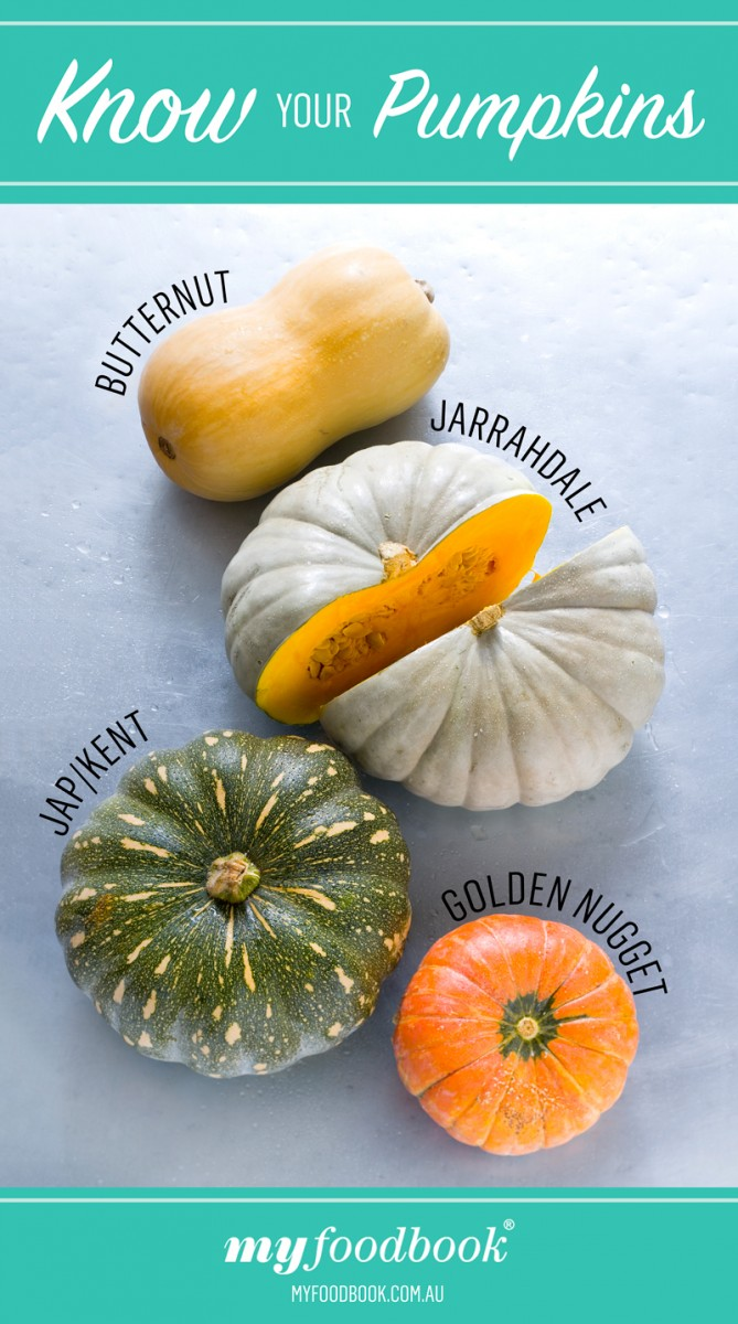 Different types of pumpkin: Butternut, Jarrahdale, Japanese and Kent, Golden Nugget