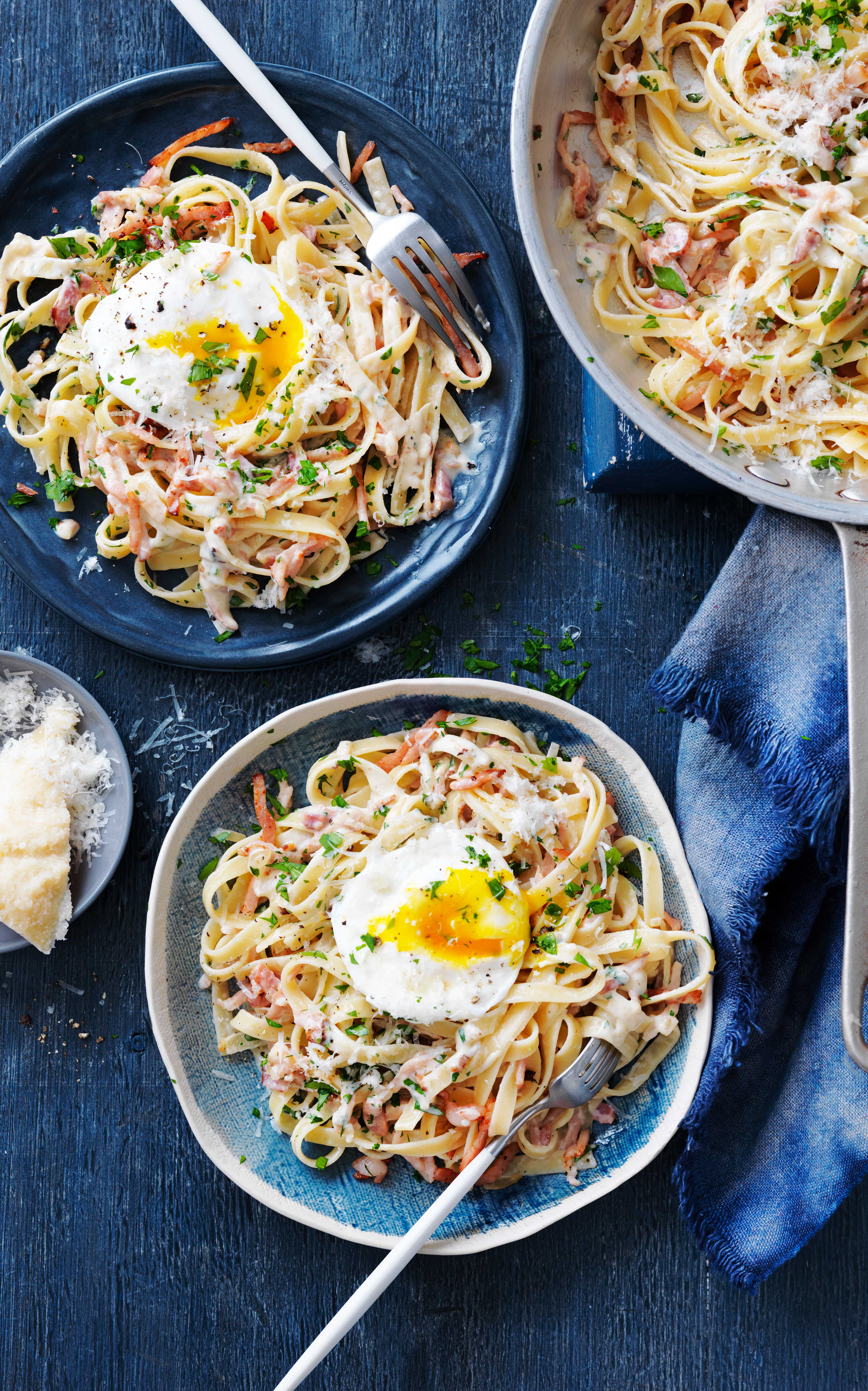 Creamy Fettuccine Carbonara recipe with poached egg