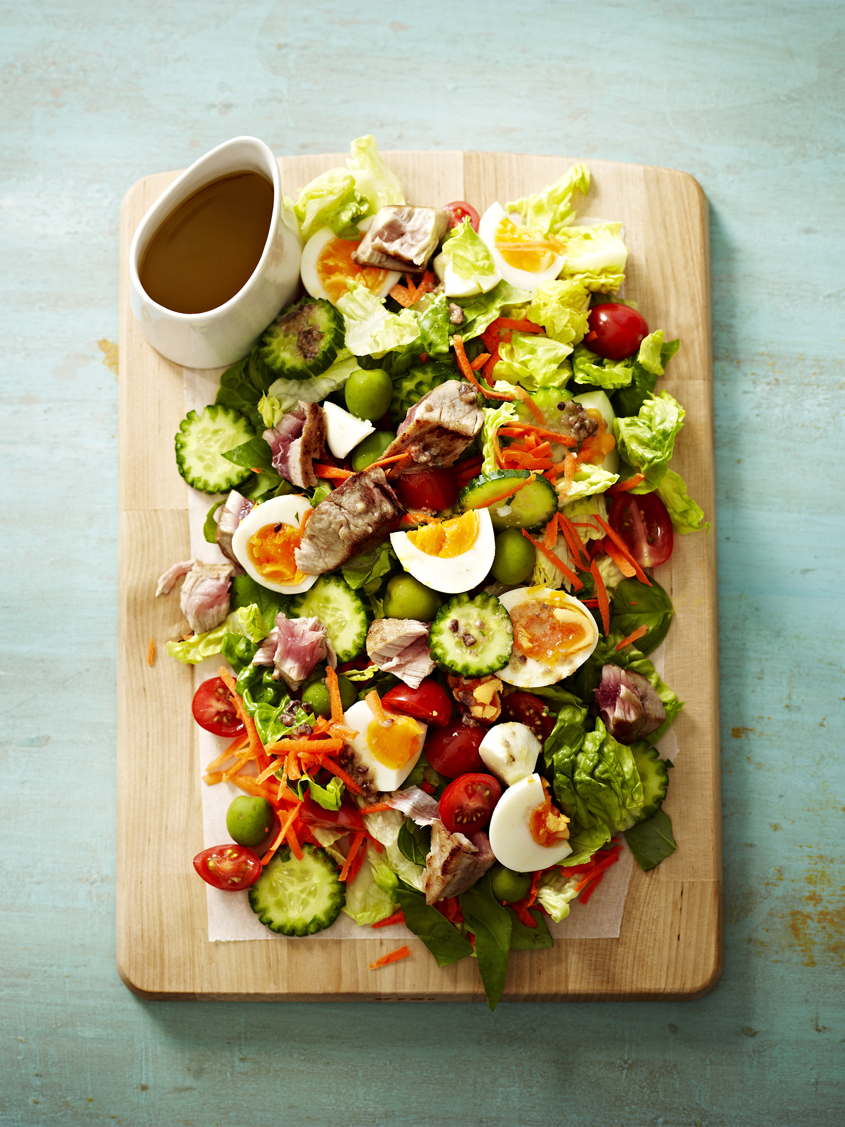 Tuna and Egg Chopped Salad with Anchovy Dressing
