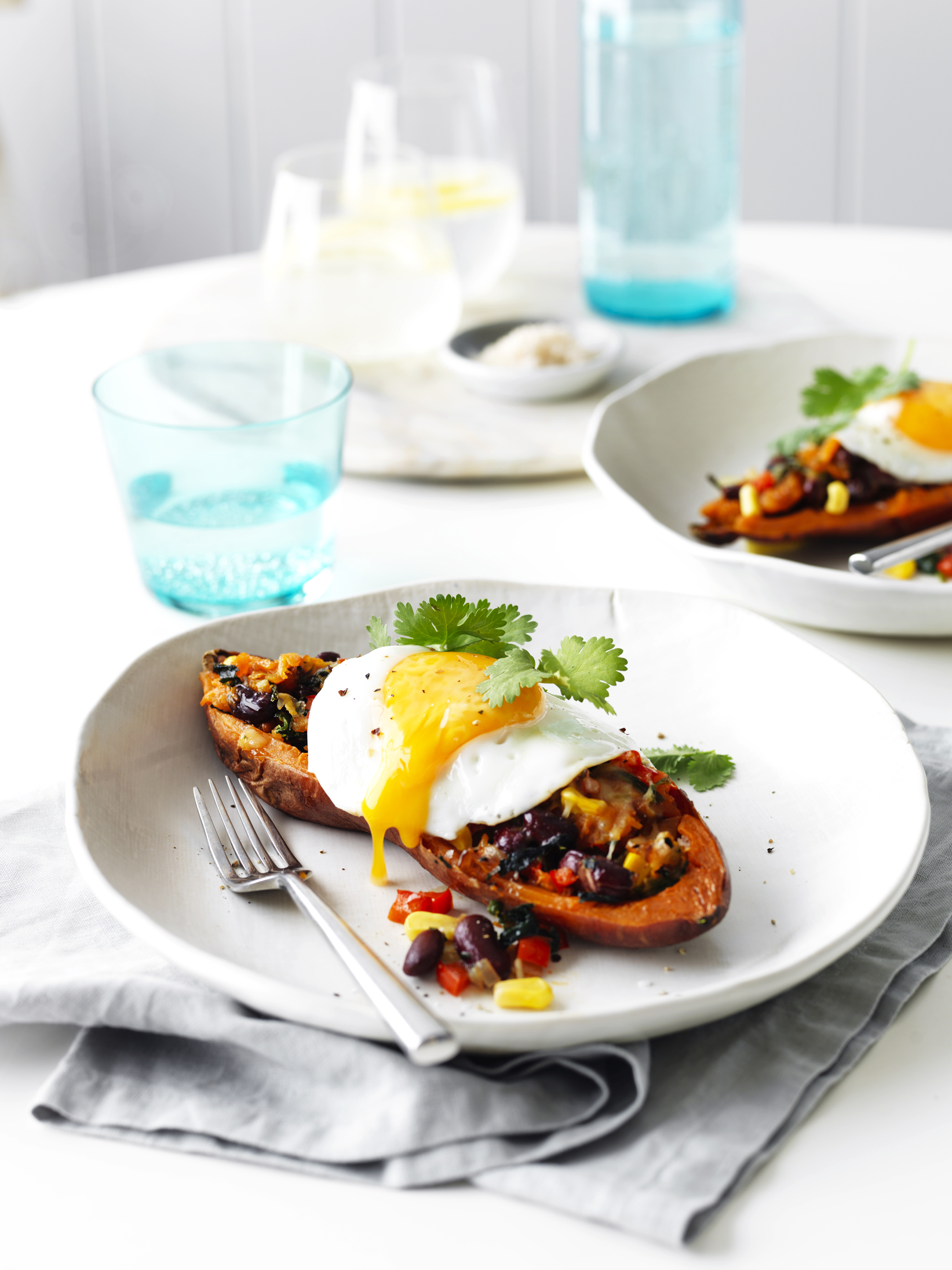Mexican Filled Sweet Potatoes with Egg