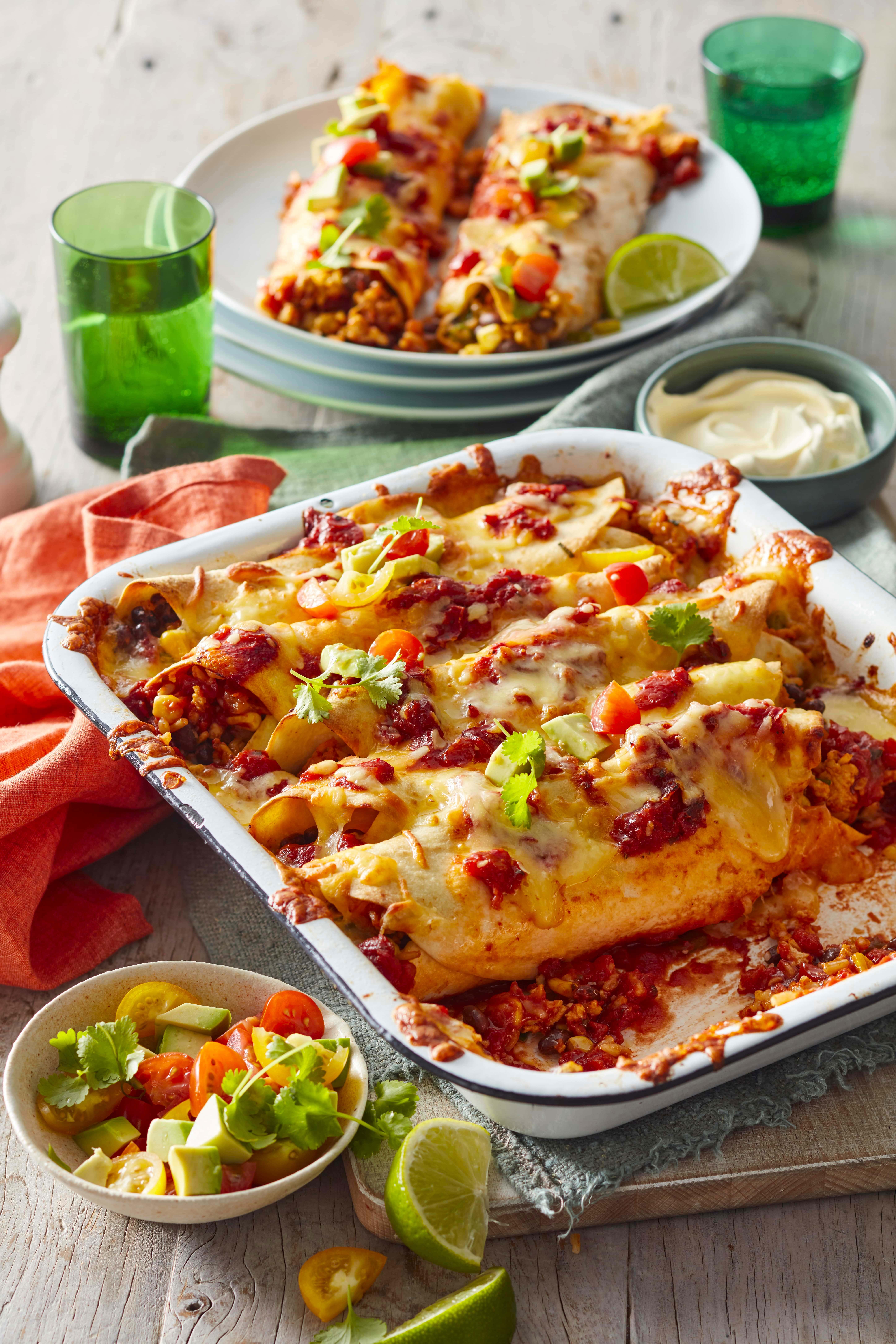 Chicken enchiladas with rice inside
