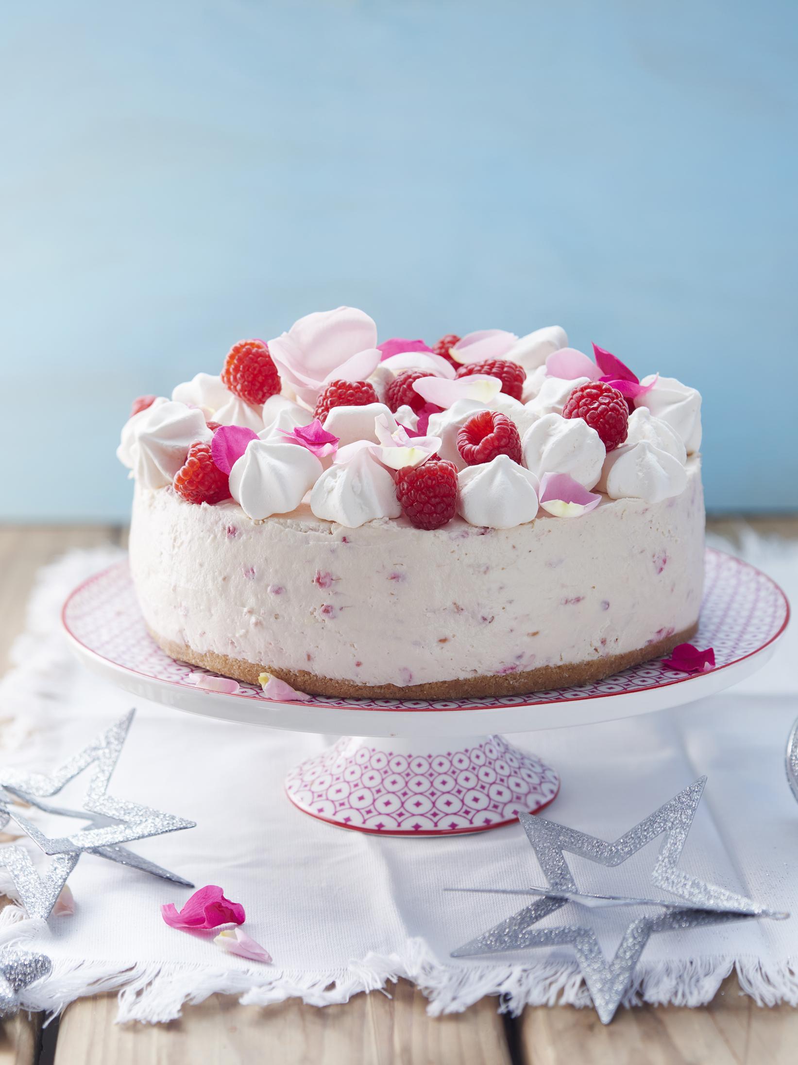 White Chocolate and Raspberry Rosewater Angel Cheesecake