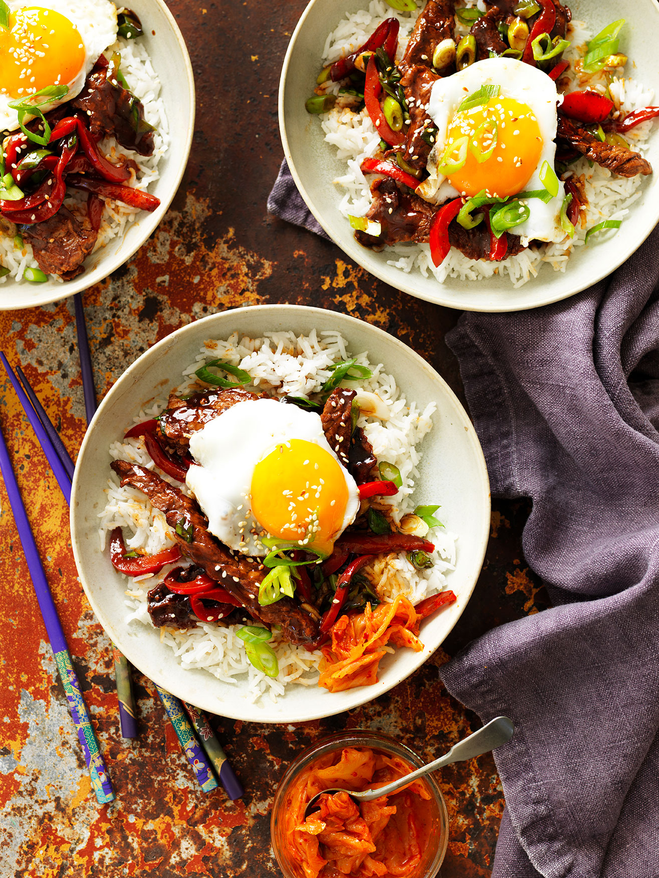 Korean Rice Bowl recipe with beef egg Kimichi