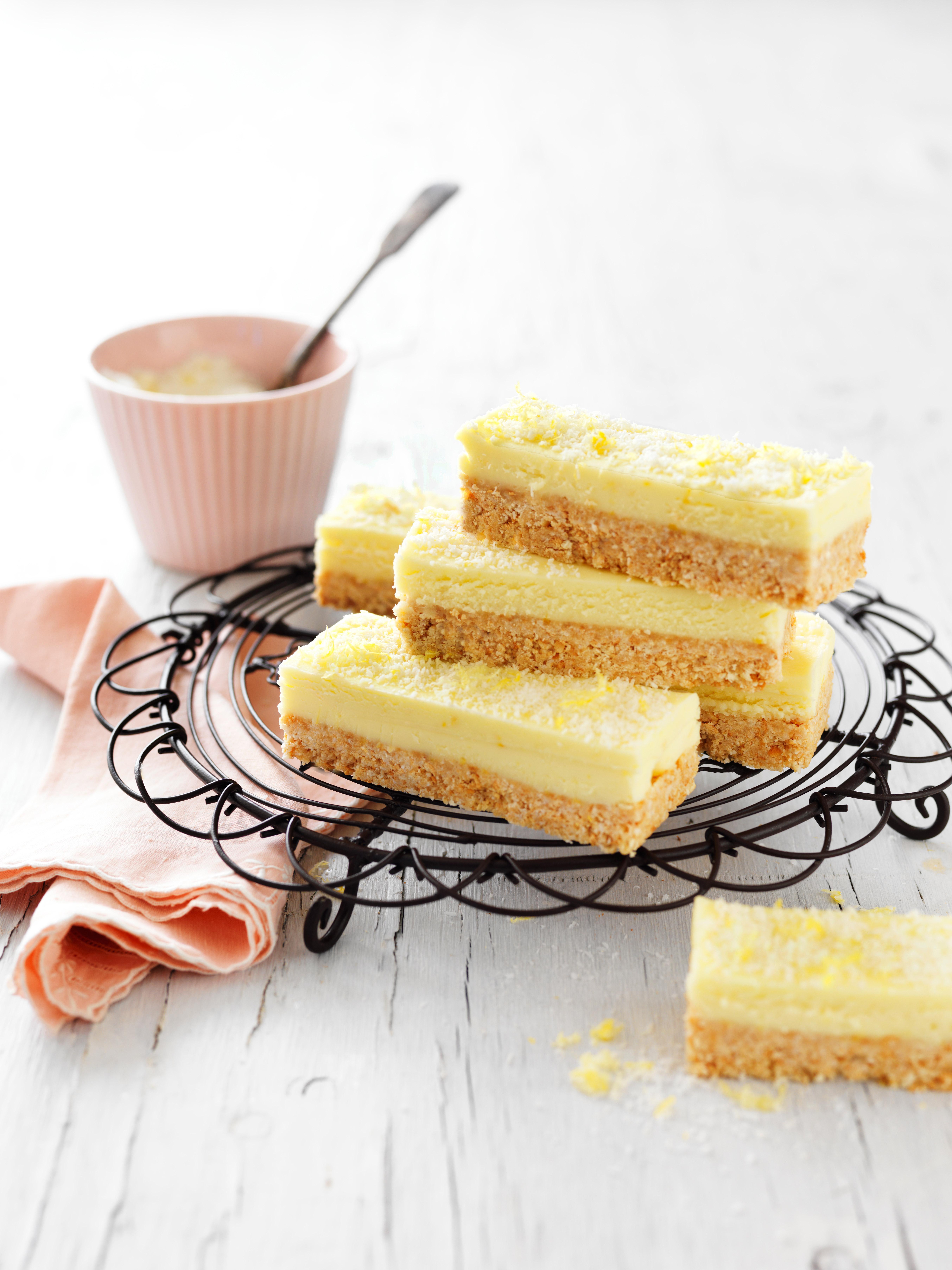 Lemon and coconut slice recipe