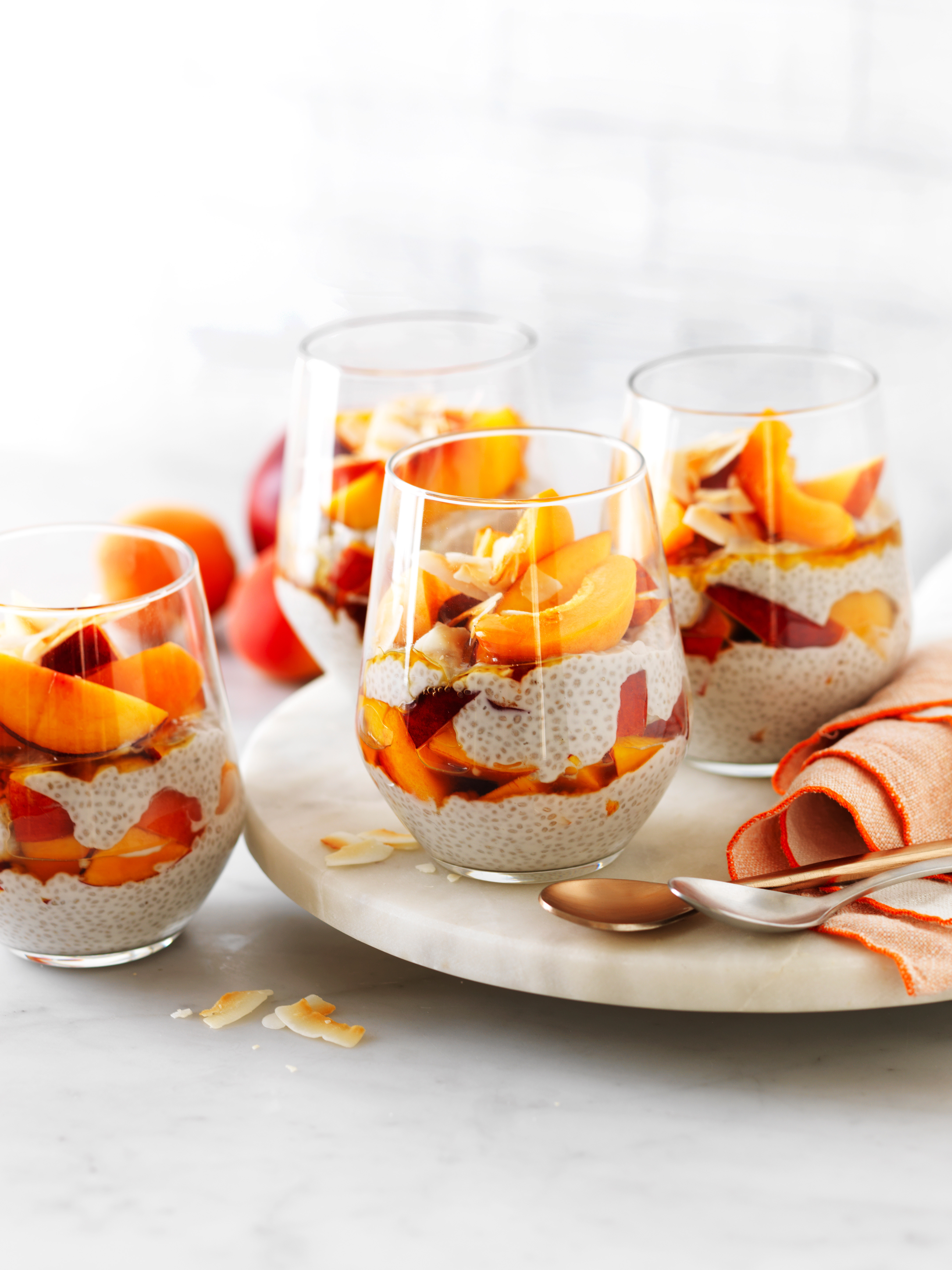 Nectarine and apricot coconut chia puddings
