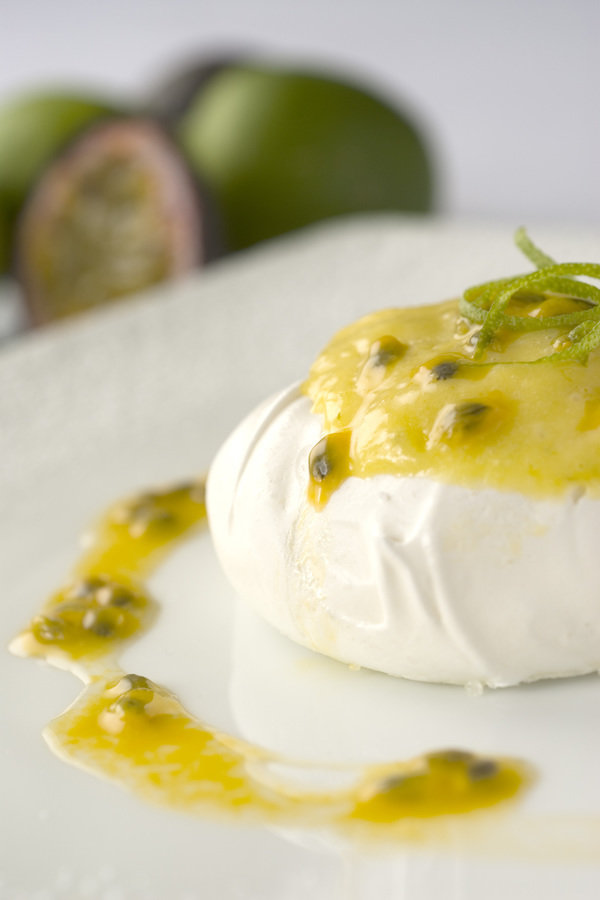 Meringue Nests with Lime Curd and Passion fruit