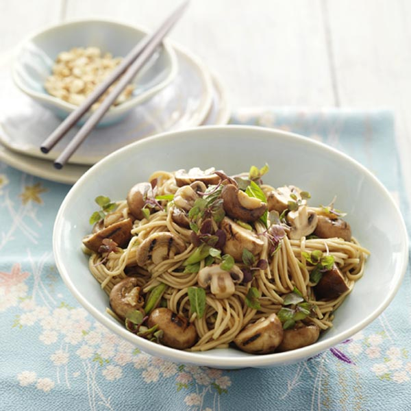 BBQ Swiss Brown Mushrooms Soba Noodle Salad