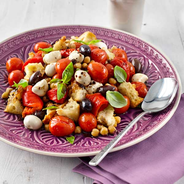 Roasted Red Panzanella Salad with Chick Peas