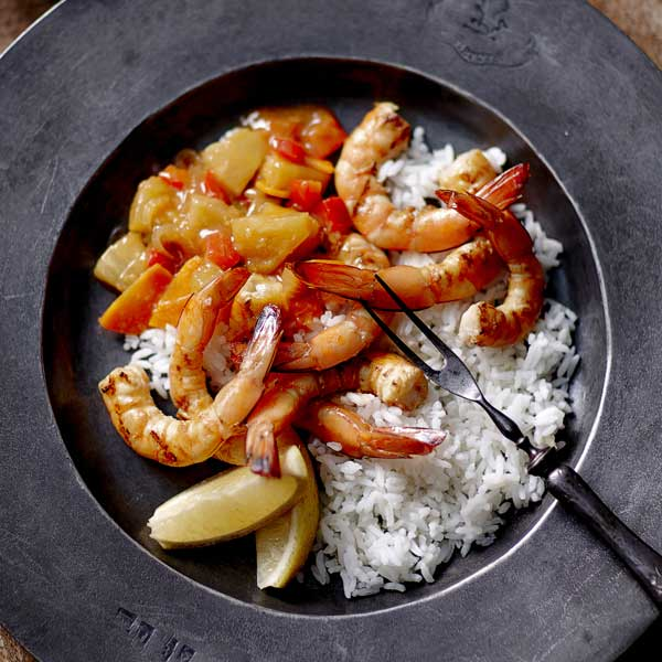 Barbecue Honey Soy Prawns with Chunky Sweet and Sour Salsa