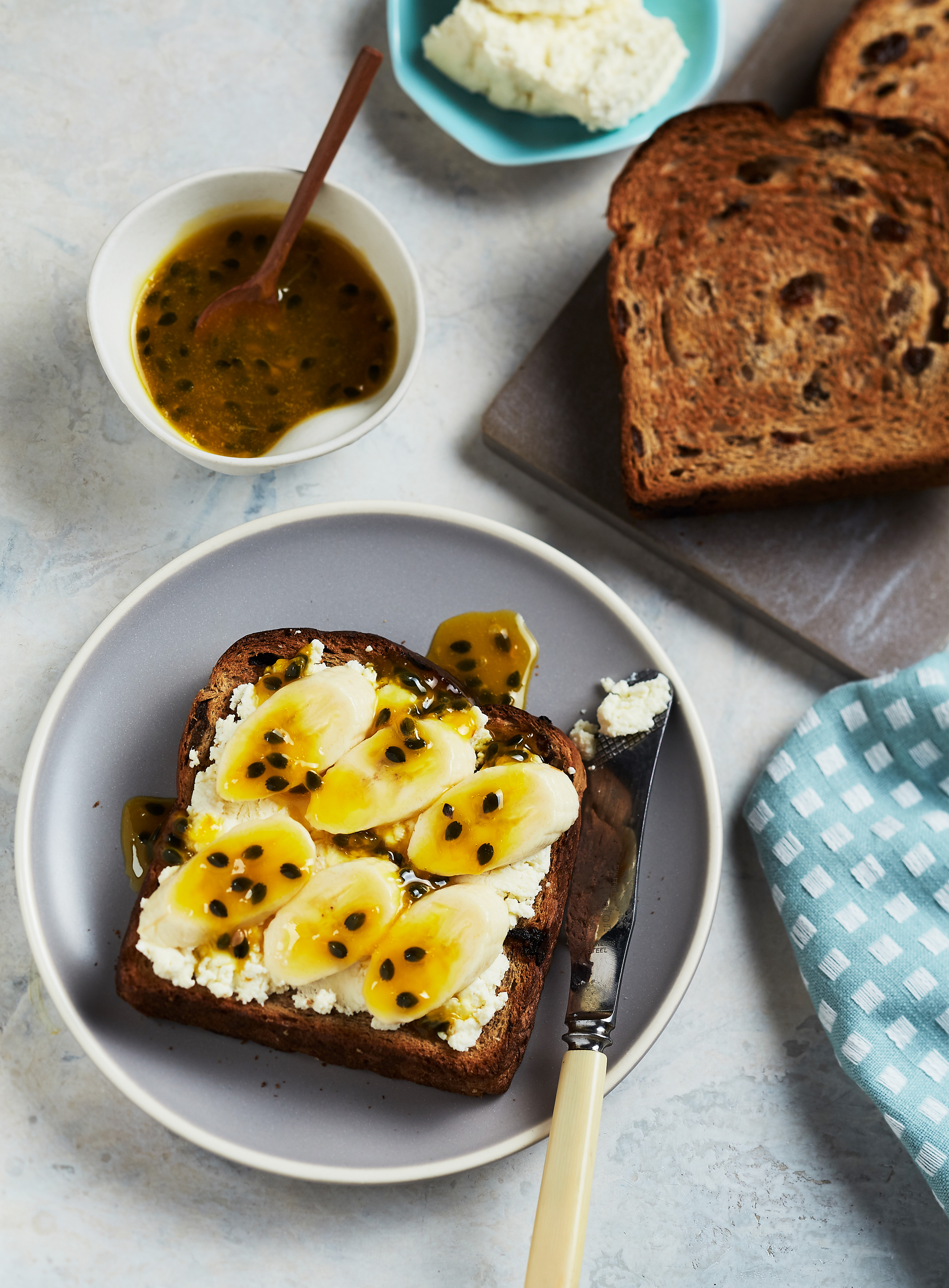 Thick Cut Fruit Toast with Passionfruit Sauce