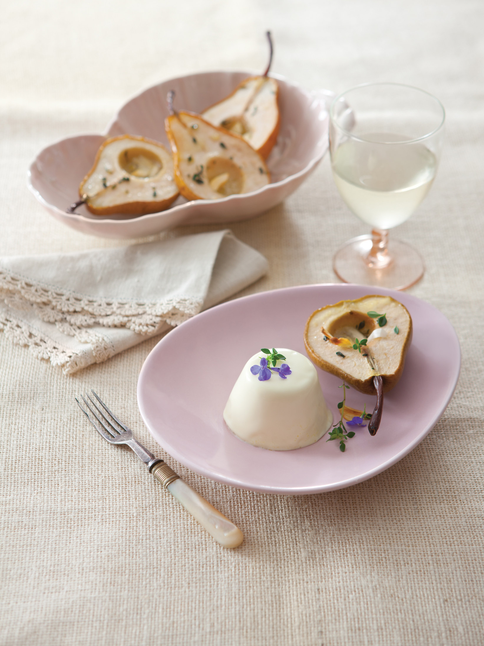 Goat Cheese Pannacotta with Roasted Pear