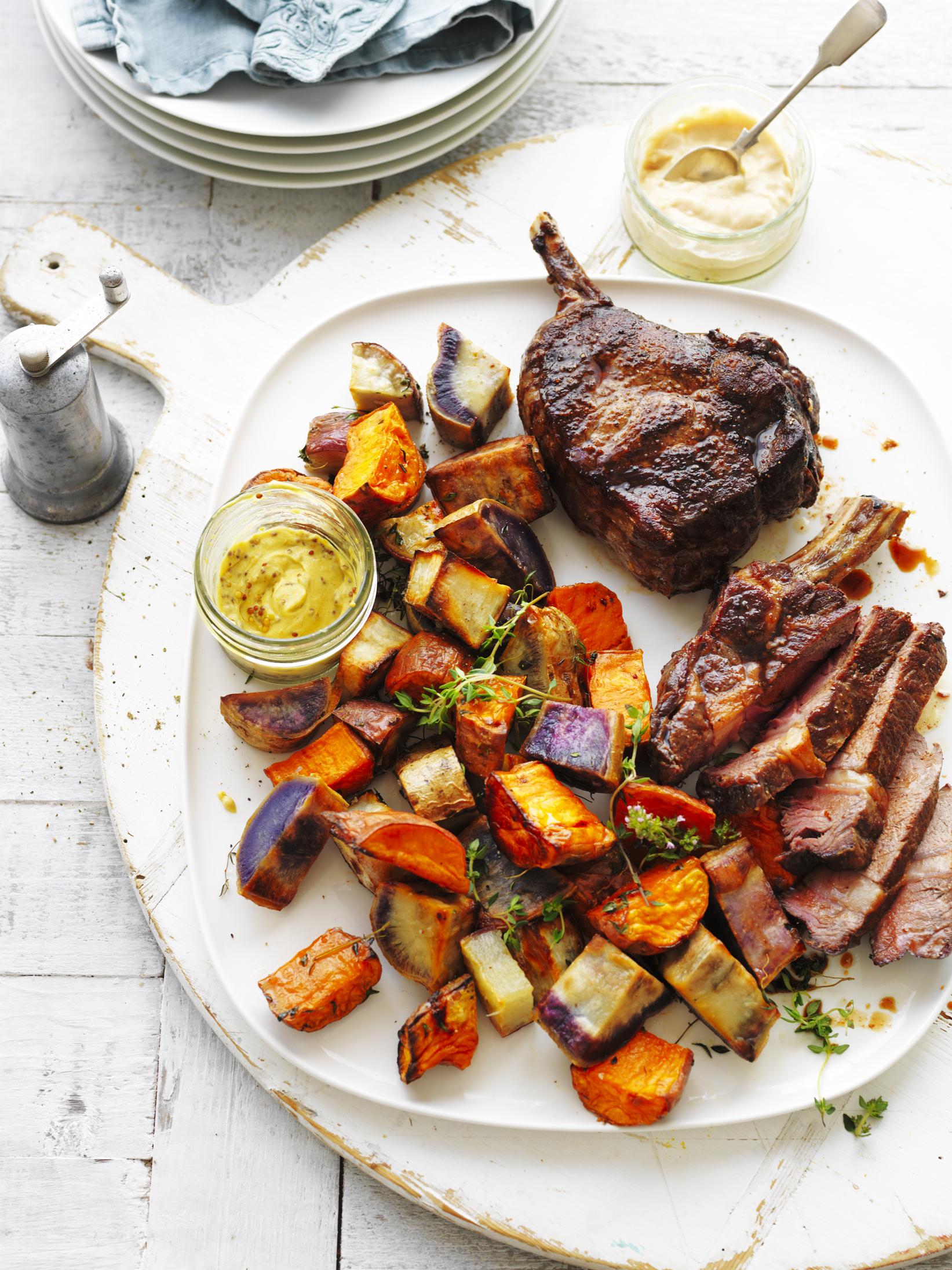 Roast Sweet Potato Medley with Rib-Eye Steak