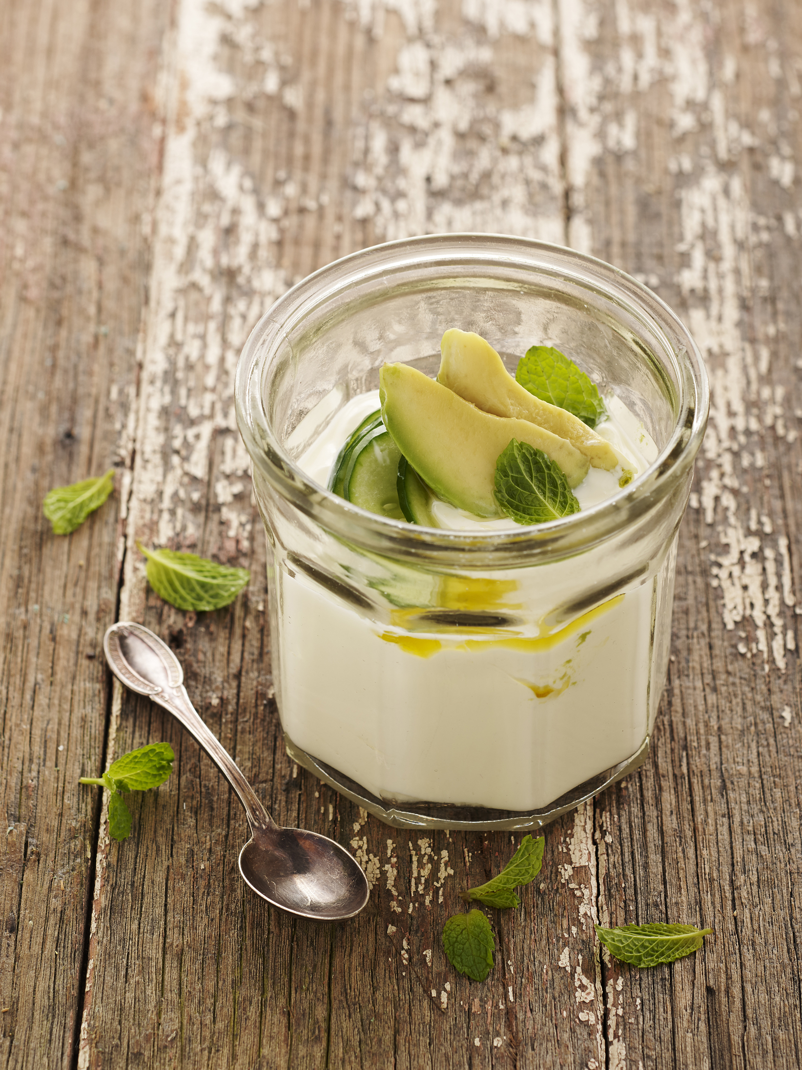 Yoghurt with Avocado, Cucumber and Mint