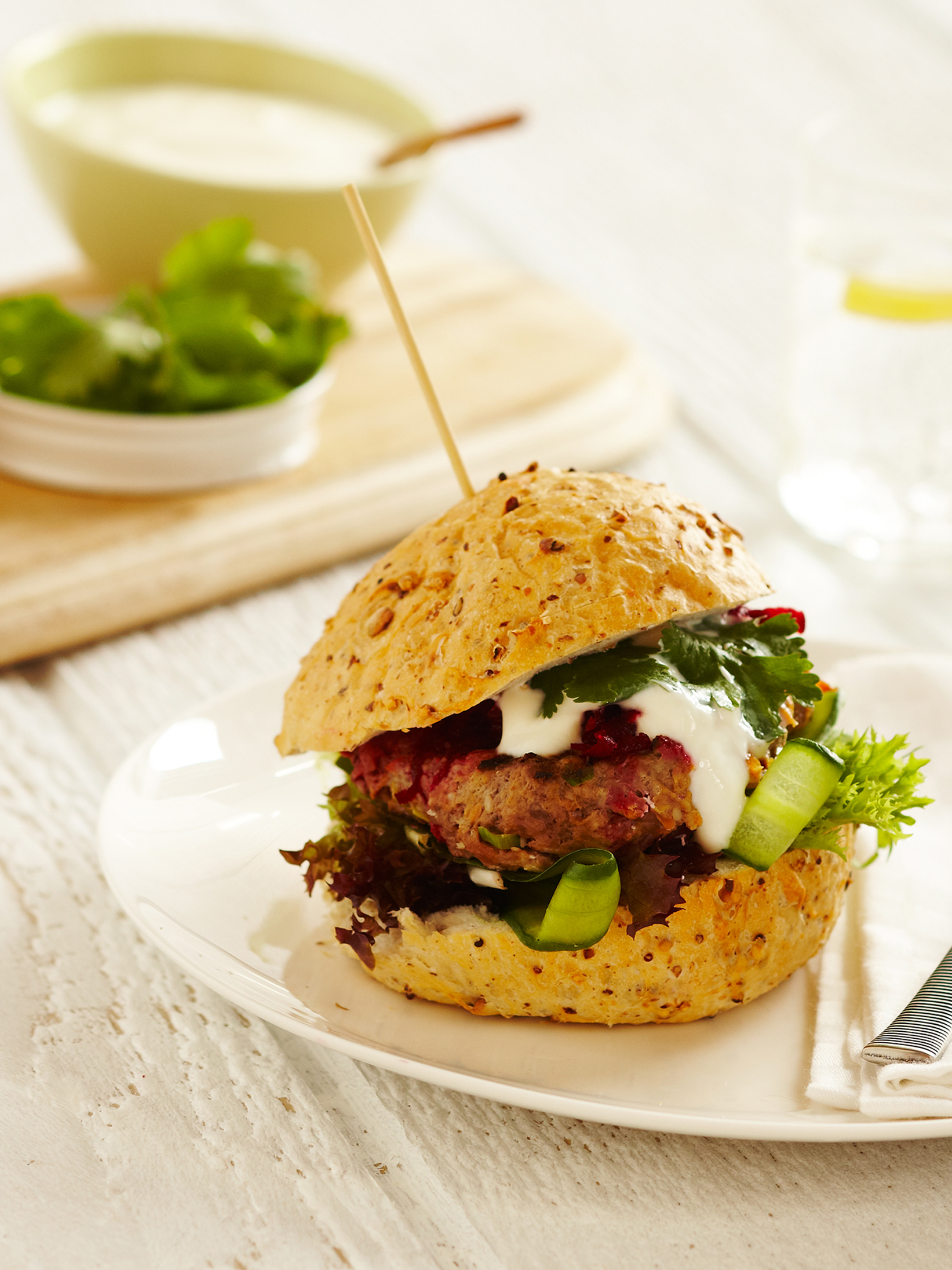 Spiced Lamb Burgers with Yogurt and Fresh Beetroot Relish