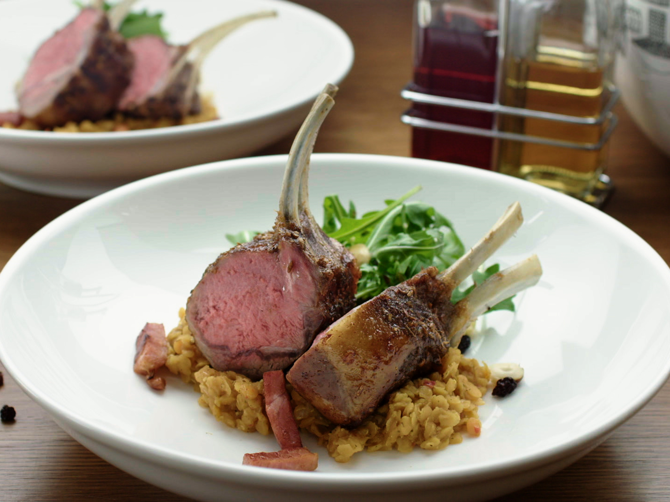 Honey and Rosemary Lamb Racks with Moroccan Lentils