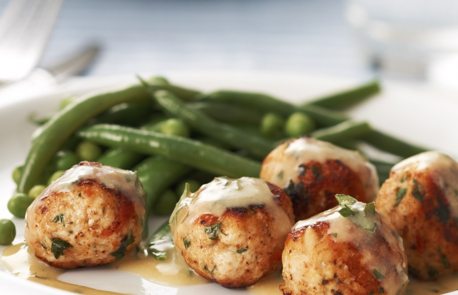 Chicken and sun-dried tomato meatballs with creamy mustard sauce