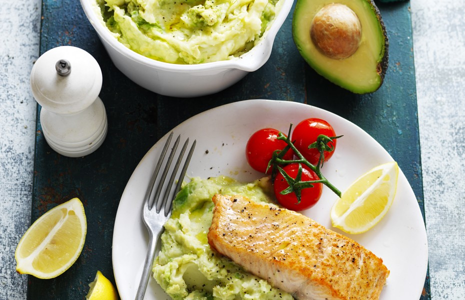 Avocado, Potato and Parsnip Mash with Salmon