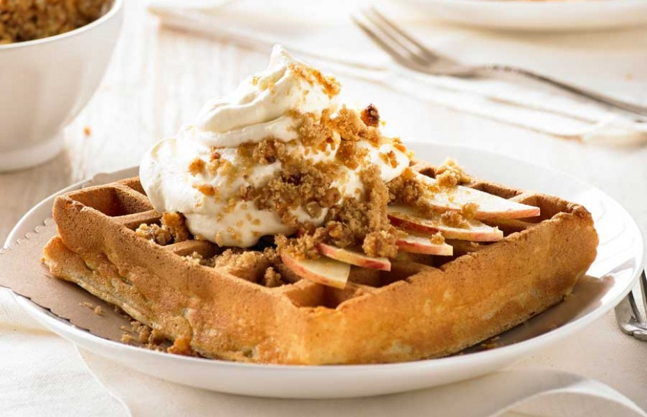Hot Apple Pie and Coconut Crumble Waffle