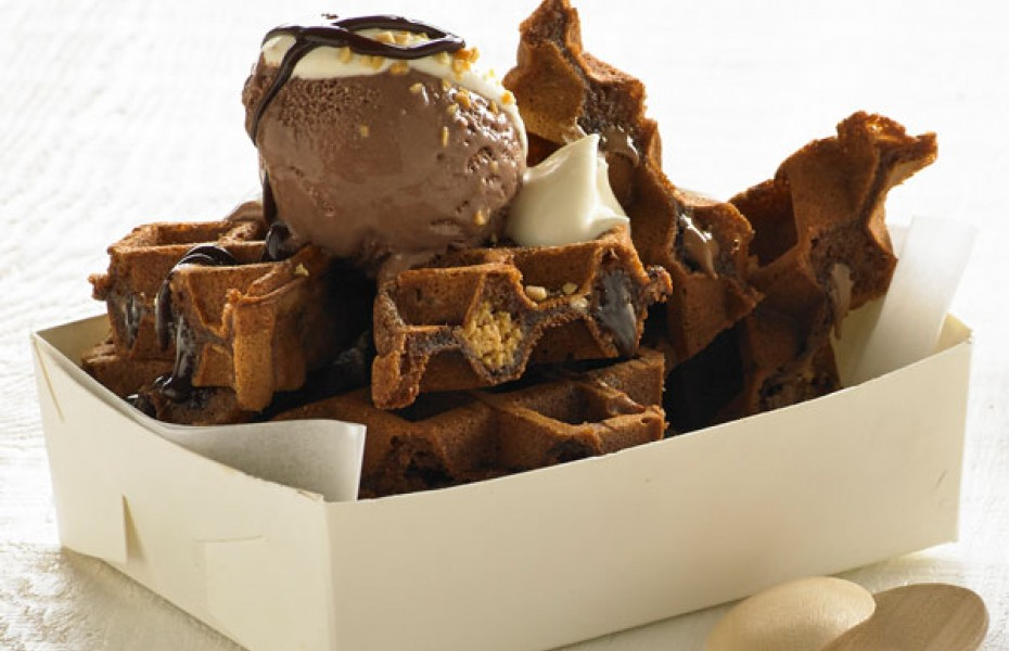 Milk Chocolate and Peanut Butter Waffle