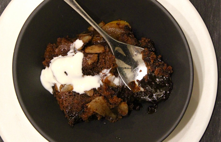 Chocolate, Pear and Almond Pudding