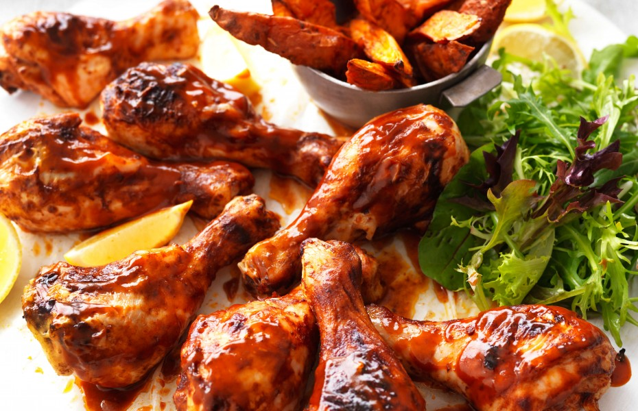 Easy Chicken Drumsticks recipe with Spiced Sweet Potato Wedges