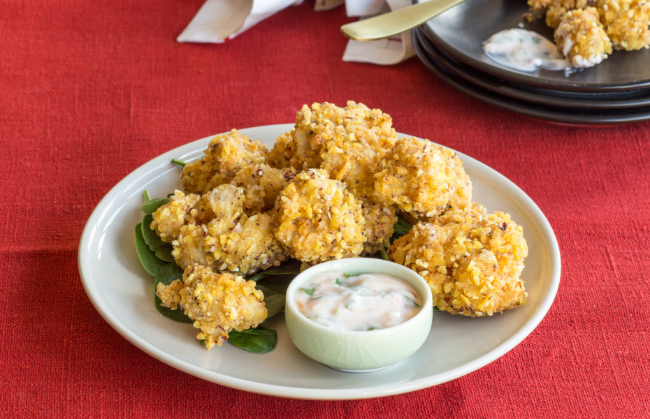 Cauliflower Fritters with Yoghurt Dipping Sauce