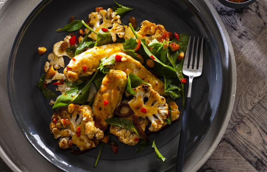 Chargrilled Cauliflower, Chicken and Caramelized Onion Salad Recipe