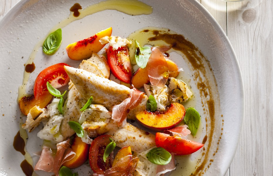 Chicken Tenderloin with Prosciutto, Truss Tomatoes And Peach Salad