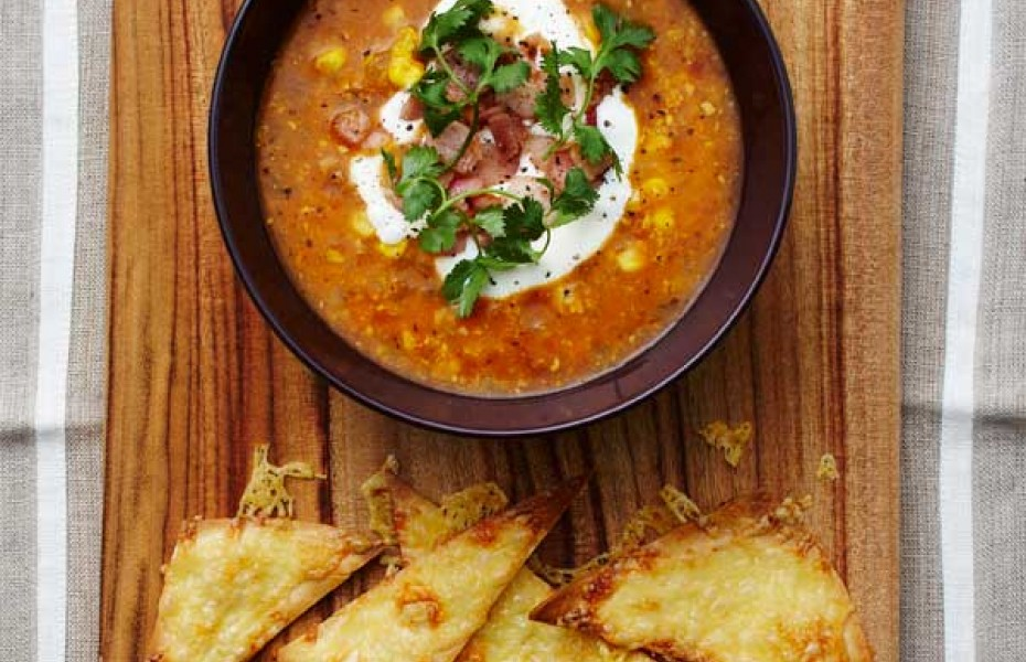 Mexican Tomato and Corn Soup with Tortilla Cheese Chips