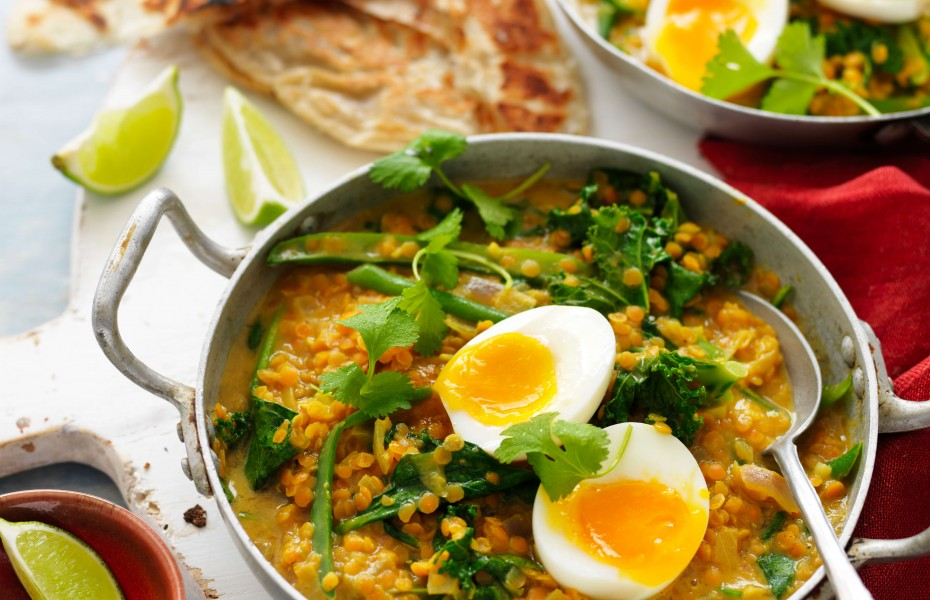Red lentil dahl curry topped with eggs