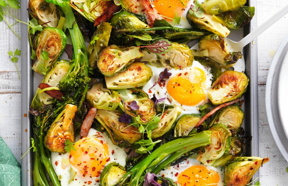 One-pan Egg, bacon and brussels sprouts tray bake recipe