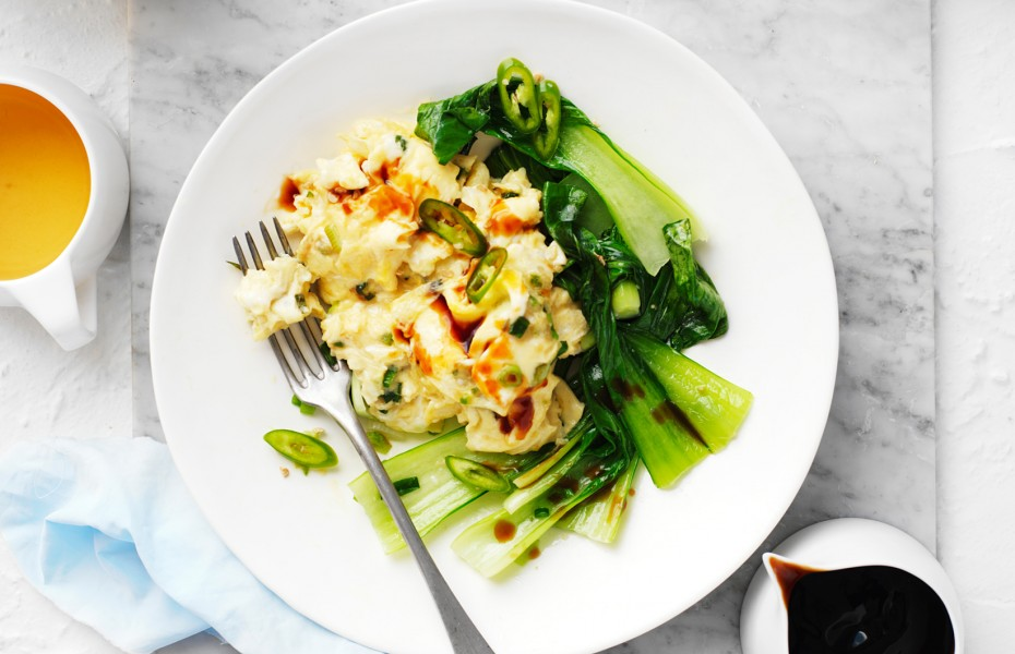 Asian Style Scrambled Eggs - high protein breakfast ideas