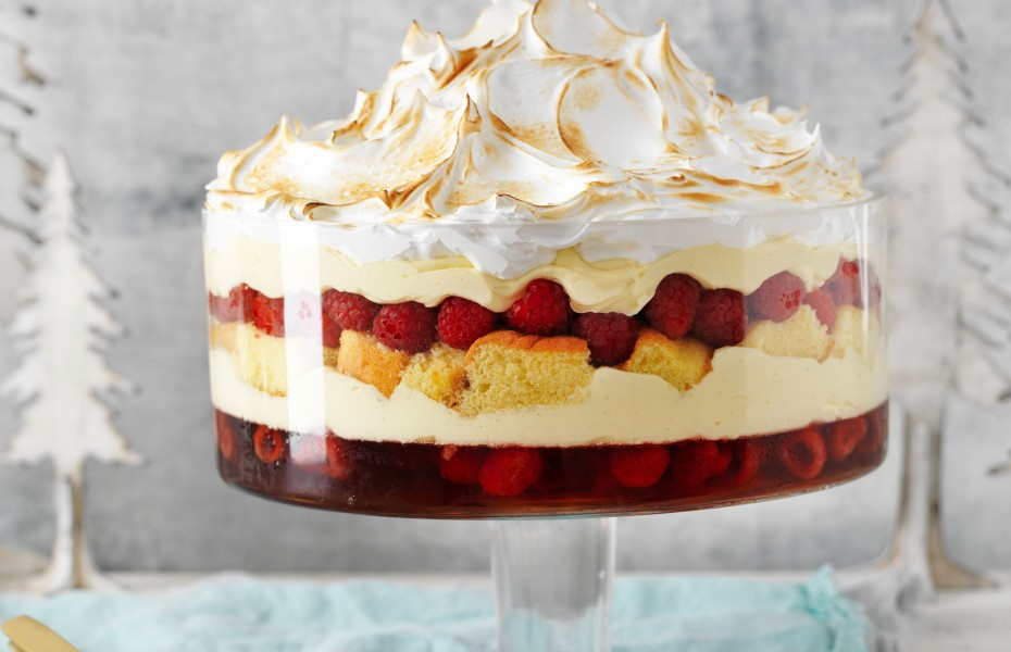 Epic raspberry trifle with meringue top