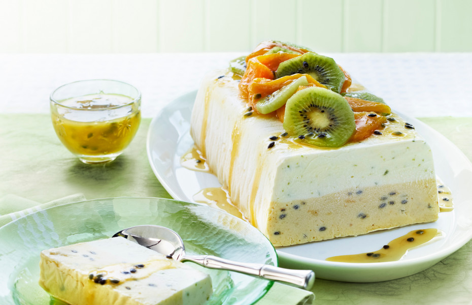 Layered Lime, Mango and Passionfruit Ice Cream Terrine