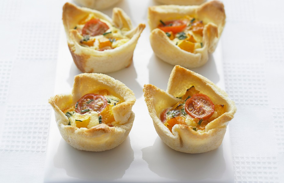 Mini Pumpkin and Cherry Tomato Quiches
