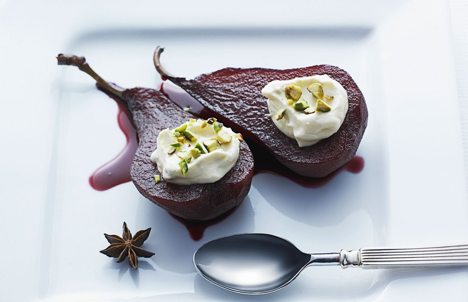 Red Wine Poached Pears with Orange and Pistachio Cream