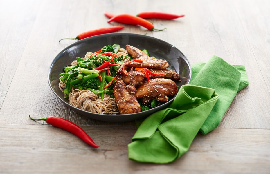 Sticky Chicken and Noodles