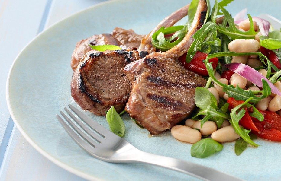 Lamb Cutlets with a White Bean Salad