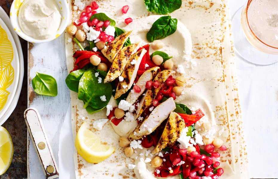 Chia Wraps with Pomegranate and Moroccan Chicken