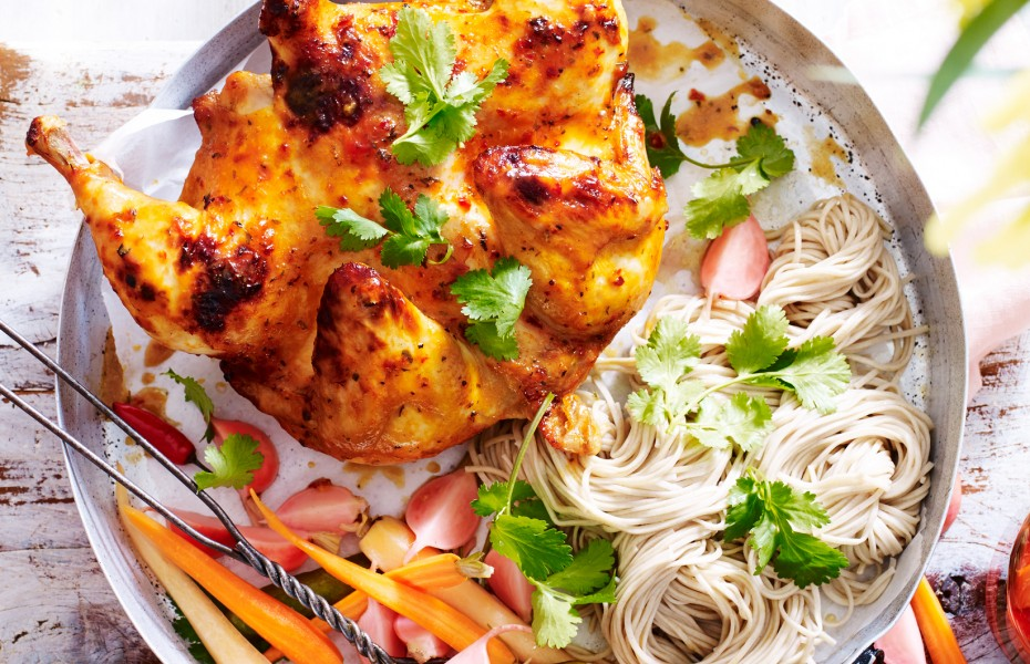 Chilli Coriander Split Chicken with Pickled Vegetables and Soba Noodles
