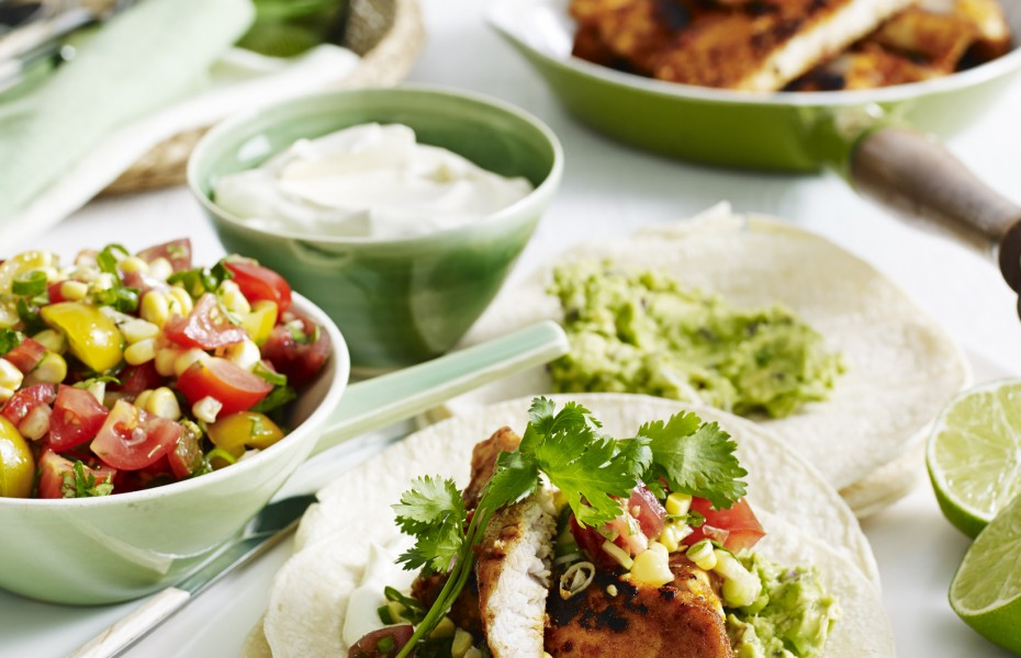 Chicken Tacos with Tomato Salsa and Guacamole