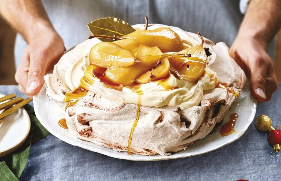 Chocolate pavlova with pears