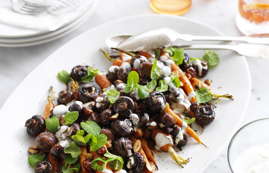 Roasted Mushroom and Carrot Salad with Maple