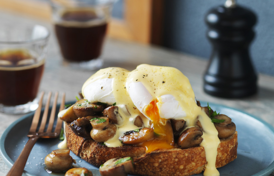 Mushrooms and Poached Egg on Sourdough