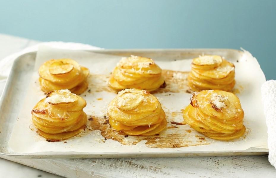 Crispy Parmesan Potato Stacks