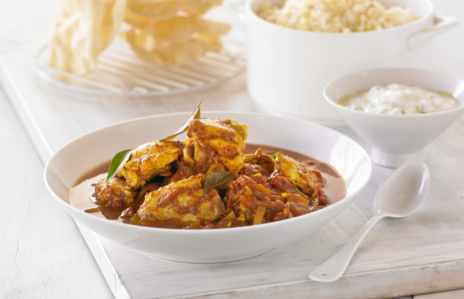 North Indian Chicken Curry with Ginger, Coriander and Steamed Saffron Rice