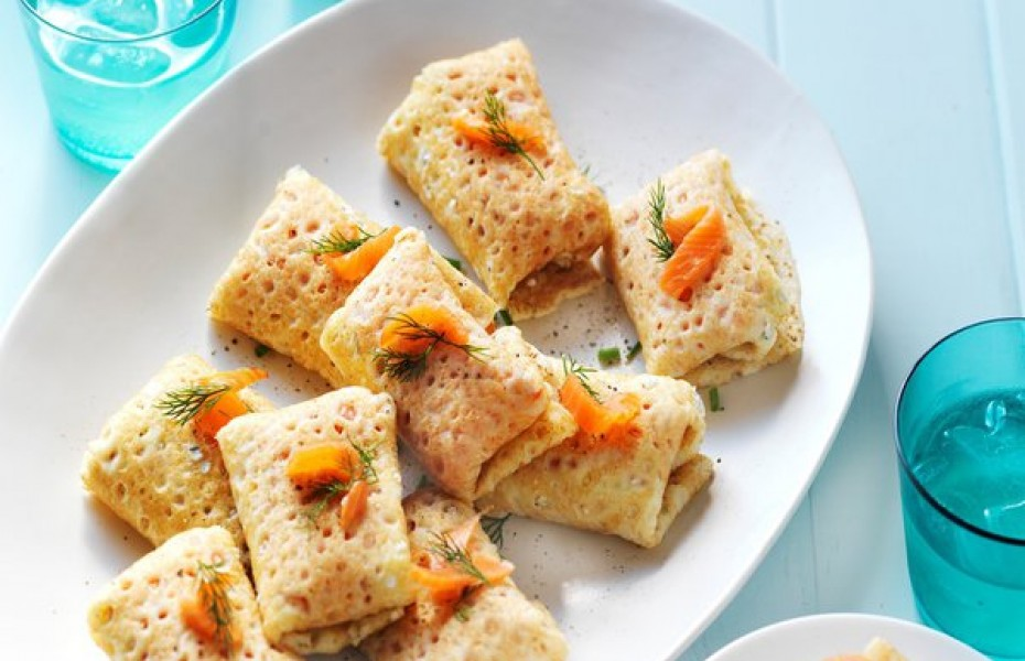 Smoked Salmon, Sour Cream & Herb Crepe Parcels