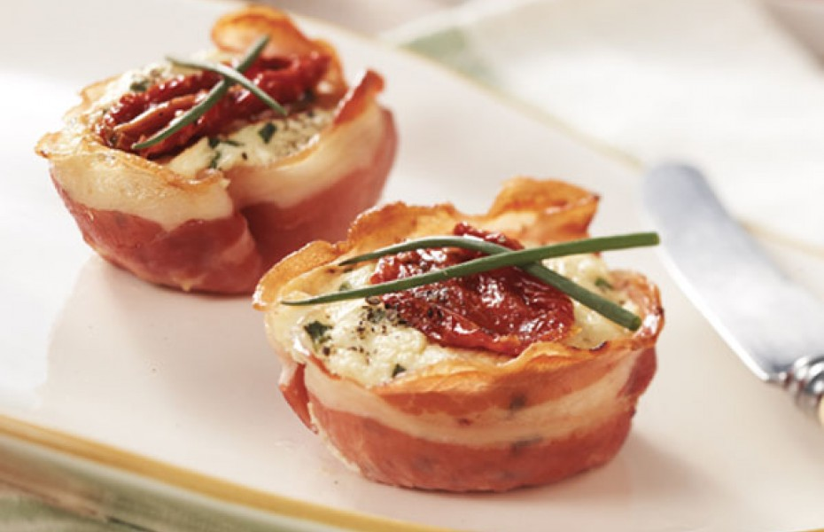 Baked Ricotta and Pancetta Tarts. Great party starters!