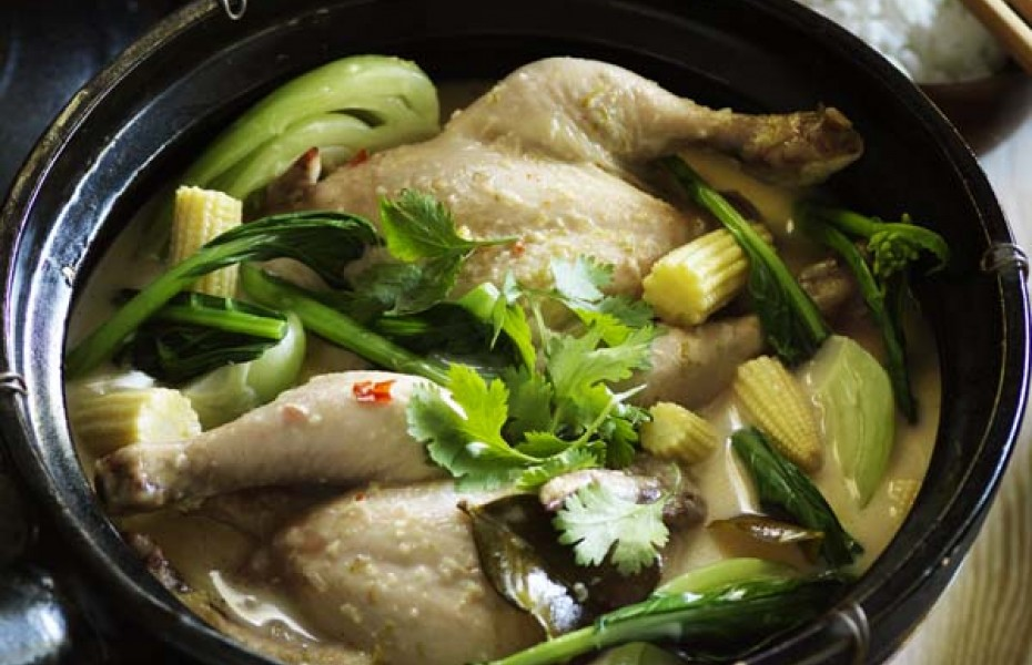 Poached Chicken Soup with Asian Greens and Baby Corn