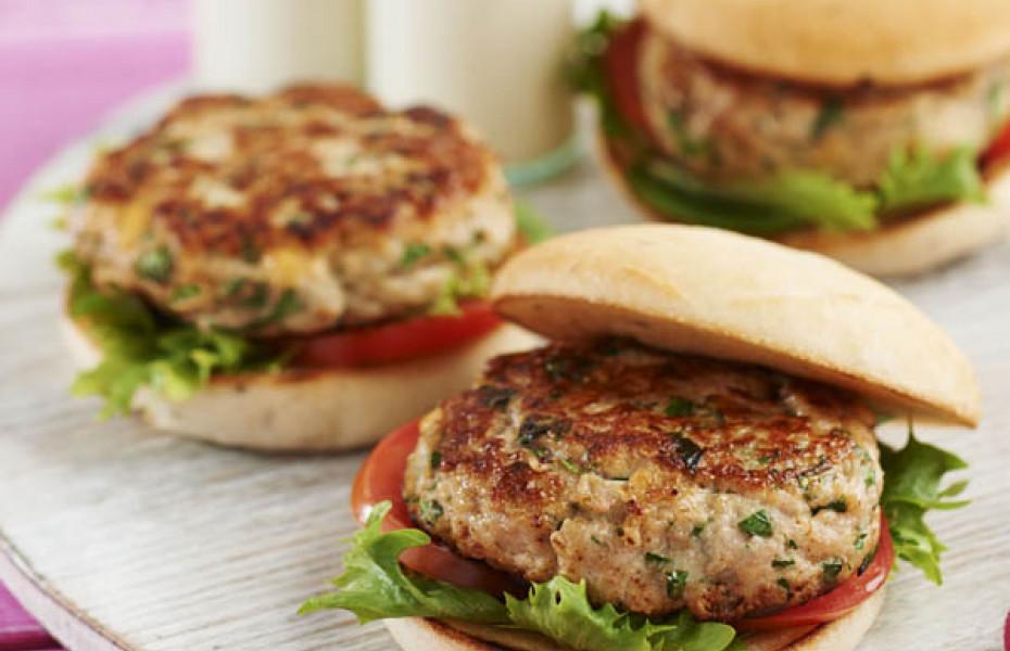 Chicken, basil and pinenut burgers